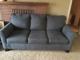 Sofa Hide a Bed Queen pull out 6 ft gray blue Couch