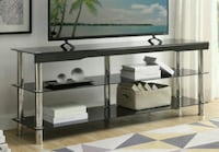 "Hakea Black Glass-Top 62"" TV Stand 1211 mi"