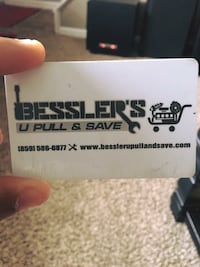 White bessler's u pull and save card Fairfield, 45014