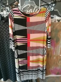 pink, black, and white stripe scoop-neck quarter-sleeve sheath dress