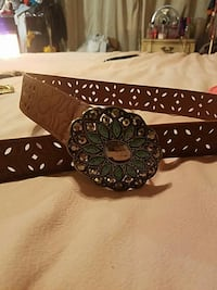 brown leather  turquoise  buckle  flowered belt Providence, 02904