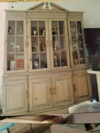 Light wooden framed glass display cabinet   g.c