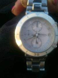 round silver-colored chronograph watch with link bracelet Los Angeles, 90013