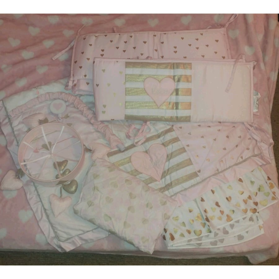 Pink Hearts Crib Bedding Set
