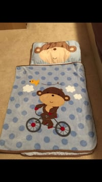 GUC Kidsline nap pillow plus fleece blanket.  Can be rolled up for easy transport.  Small rip between pillow and blanket.  $13.  Pick up near Richmond Centre. Cross posted.  See comments for more pics.