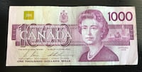 1988 $1000 Canadian Bill with small damage Toronto, M6P 2L7