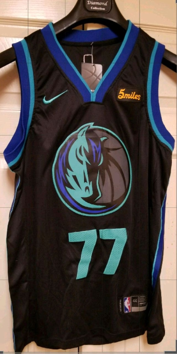 new style 00ee4 993f5 #77 Luka Doncic Jersey City black jersey