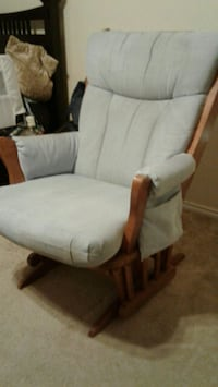 brown wooden framed white padded glider chair San Antonio, 78238