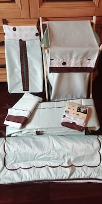 Crib Bedding Set - Soft Green & Chocolate Brown from 'Lambs & Ivy' Mississauga