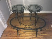 2 glass end tables and a glass coffee table for $60.00