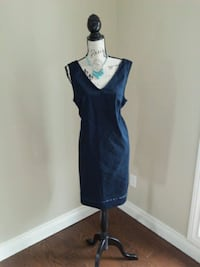 Navy cotton dress..price tag on. With necklace.