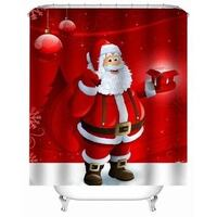 Bathroom Merry Christmas Bell Christmas Style Decorative Waterproof Polyester Shower Curtain Ajax