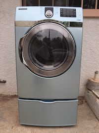 Blue samsung front-load clothes dryer