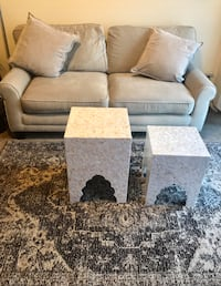 """New living room furniture set large beige sofa 70""""Lx35""""H 2 pillows 2 tile mosaic tables 5x7"""" beige brown rug click on my emoji profile picture for more listings interested message me pick up in Gaithersburg Maryland 20877 all sales final"""