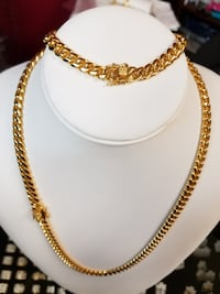 """24"""" 18K PVD Gold Plated 7mm Miami Link Cuban Chain & Bracelet Set Mississauga"""