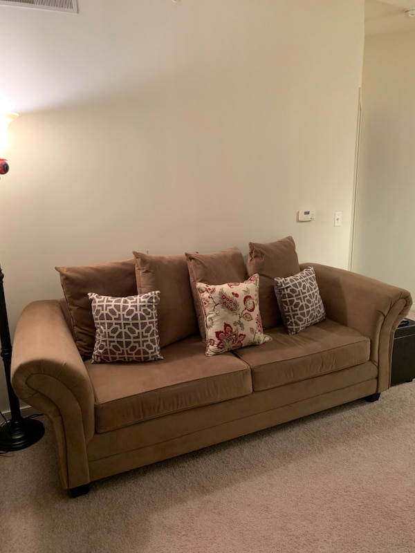 Tan Microfiber Love Sofa Used with Loving Care