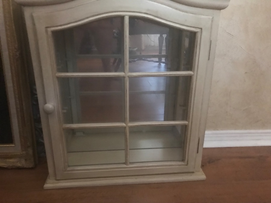 Glass Front , Cream Colored, Wooden Display Cabinet