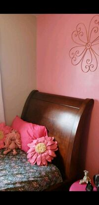 Twin size sleigh bed frame and rails and supports