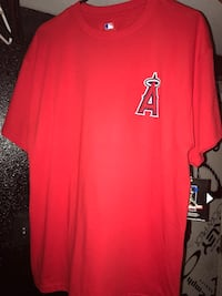 Angels Red crew-neck shirt Jared weaver large  Corona, 92879