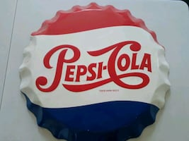 1965 Vintage Pepsi Bottle Cap Sign