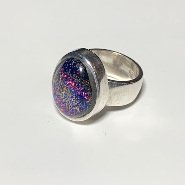 Vintage Sterling Silver Dichroic Glass Ring 0