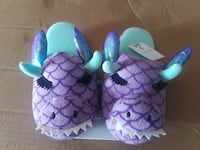 pair of purple and blue bull bed slippers