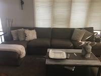 Brown fabric sectional couch Spring Grove, 60081