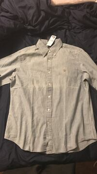 gray button-down long sleeve shirt Madison town, 53704