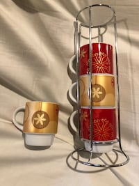 Christmas mug set of 4 with stand Markham, L3S 0E4