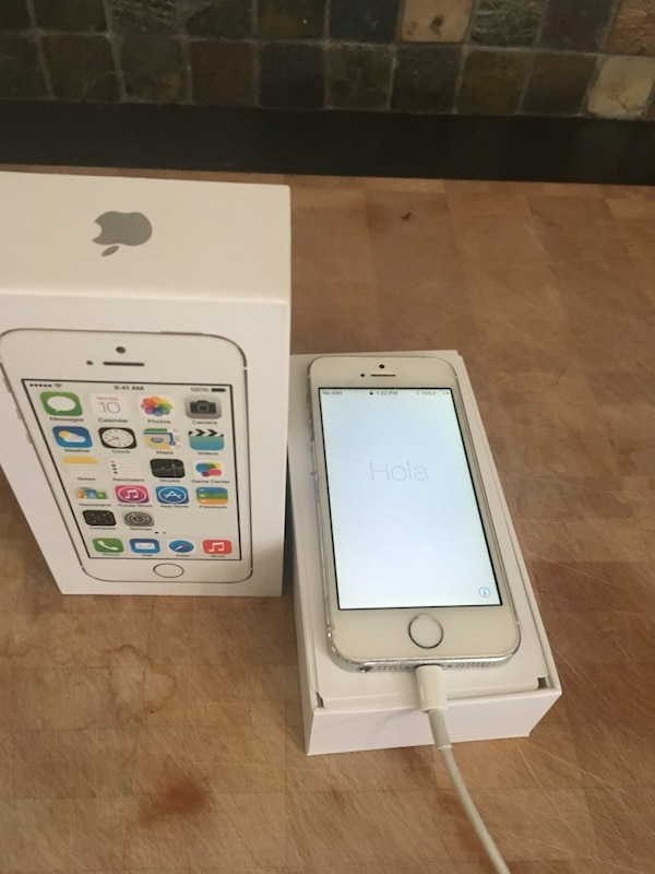 Silver iPhone 5s with box