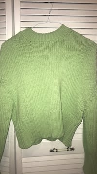 Lime green knitted sweater.  Toronto, M6C 2M8
