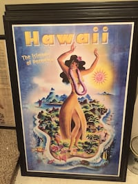Hawaii The Islands of Paradise poster with black wooden frame Des Moines, 98198