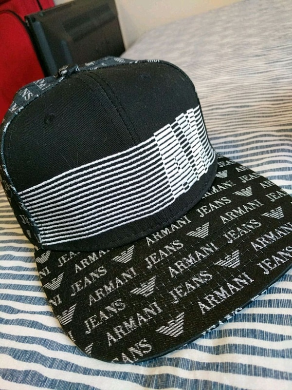 white and black Armany Jeans cap