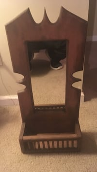 Vintage 1970s hanging wall mirror w/ box at bottom