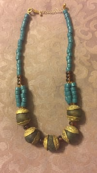 Ladies teal wood and brass necklace Burke, 22015