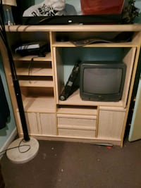 black CRT TV with white wooden TV stand Glen Burnie, 21060