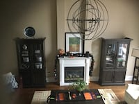Espresso colour wooden framed glass cabinet from urban barn  Whitby, L1M 2E7