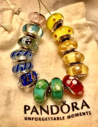 Guaranteed Authentic Lot Of 14 Pandora Murano Bead Charms & Pouch $150.00 for all Mt Laurel, 08054