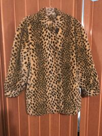 white and black leopard print coat Montreal
