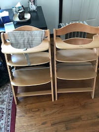 two brown wooden highchairs 25 km