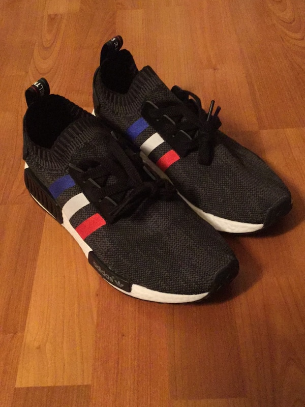 quality design 63e89 de54f Pair of Adidas NMD R1 Tri Color Stripes Black Shoes