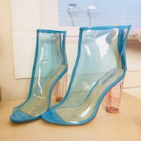 Size 10 clear blue pink heels