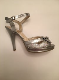 Silver Sandles with little rhinestones in front; Laval, H7W 1N6