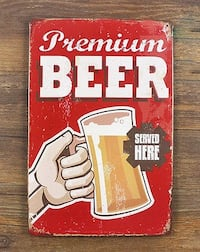 Premium Beer Served Here..Retro Style Pub Wall Art / Tin Sign. 8 x 12 inches  Sarnia, N7T 1J2