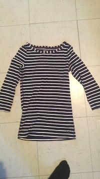 black and white striped long-sleeved dress