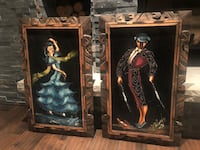 Pair of Vintage Velvet Paintings Mid Century Flamenco Dancers, Mexico