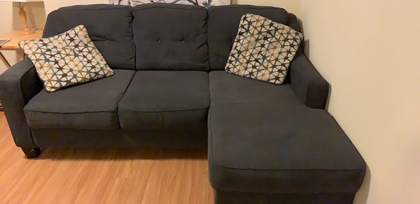 Blue fabric 3-seat sofa with leg rest and two pillows