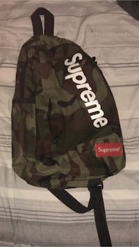 Black and gray camouflage supreme backpack (onestrapBag/shoulderbag), and rare supreme dead stock hat! St Catharines, L2P 2T5