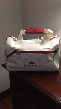 white and red leather tote bag Laval, H7E 1W8