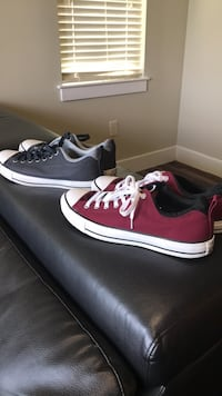 two pairs of red and black low-top sneakers San Antonio, 78256
